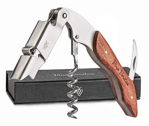VINO VERITAS   Profi Kellnermesser (Weinöffner) - Premium Sommeliermesser - Korkenzieher aus rostfreiem Edelstahl und mit hochwertigem Naturholzgriff