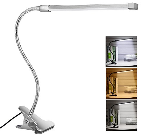 Svance USB LED Clip Lamp /Desk Light , 3 Modes (Study / Read / Relax), Dimmable with 10 Levels of Brightness(Silver)