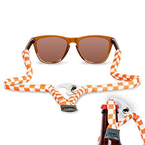 Gobi Straps Sonnenbrillengurte - integrierter Flaschenöffner - Sonnenbrillenhalter - Sonnenbrillenband - Sonnenbrillenband - schnelltrocknend, Orange/Weiß