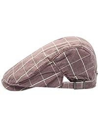 748823aa90c XueXian(TM) Classic Mens Newsboy Checked Design Baker Hat Ivy Cabbie Flat  Cap Adjustable