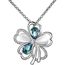 City Ouna® Elementi di Swarovski Cool Womens ragazze amicizia collane argento fiore ciondolo collana in lega con regolabile da 18