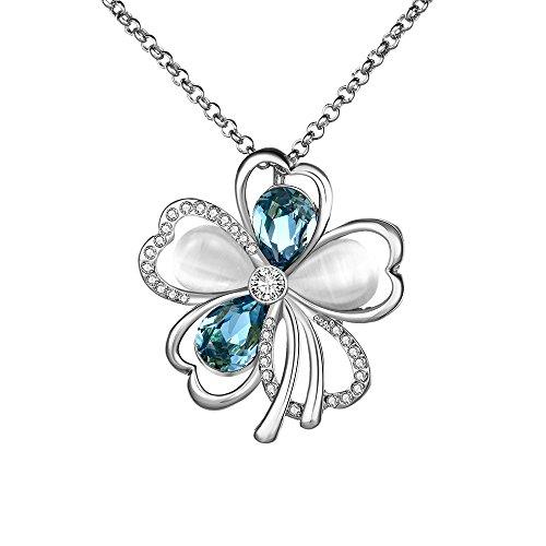 18K Placcato platino blu cristalli Swarovski Ciondolo per collana con opale