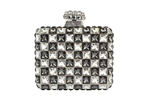 Yilongsheng femmes Lattice cristaux diamant Carré de bal Embrayage Sacs gris