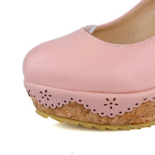 VogueZone009 Femme Boucle Rond à Talon Haut Pu Cuir Couleur Unie Chaussures Légeres Rose