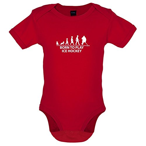 Born To Play Ice Hockey - Lustiger Baby-Body - Rot - 6 bis 12 Monate