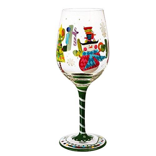 CHOOLD Snowman Artisan - Copa de vino pintada a mano, cristal sin plomo, gafas de Navidad, galletas de cóctel para fiesta, boda, regalo de Navidad, regalo de Navidad