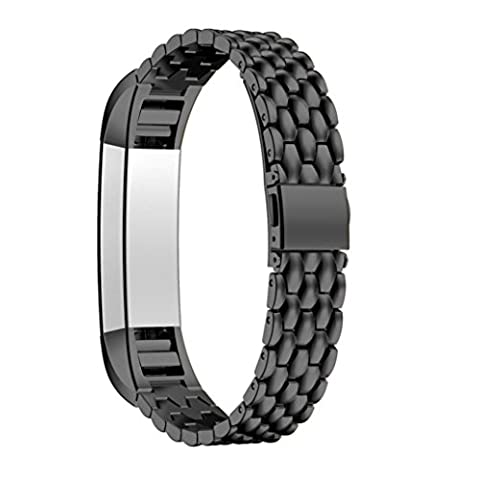 Fitbit Alta HR Replacement Strap, HARRYSTORE Outdoor Sports Adjustable Stainless Steel Replacement Watch Band Bracelet for Fitbit Alta HR Watch (Black)