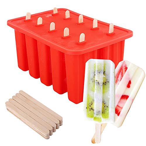 Frozen Pop Mold-sticks (Nuovoware Ice Pop Molds, [Cavity of 10] Food Grade Silicone Frozen Ice Popsicle Makers with 100 Sticks, Large Capacity 8.26 * 5.5 * 3.9 Inch, BPA Free, Kitchen Tools, Red)