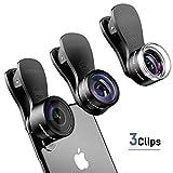 Mpow 3 en 1 Universal Kit Objectif Fisheye Clip-on 0.33 x Suprême Fisheye + 0.36 x Objectif Grand Angle + 20 x Objectif Macro pour iPhone 7/6/ 6 Plus/ 6s/ 6s Plus, iPad Air 2/1, Samsung, Wiko