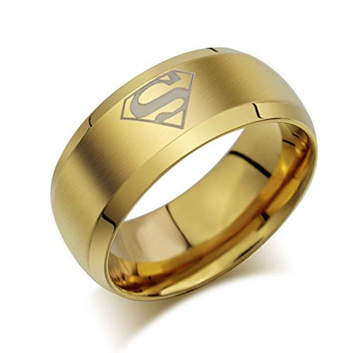 RQZQ Ring Hochwertiger Superman Rings Herren Modeschmuck aus vergoldetem Edelstahl