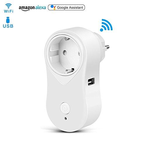 Intelligente WLAN Steckdose, Alquar Smart WLAN Steckdose mit USB-Anschluss, spracherkennbar von Amazon Alexa [Echo, Echo Dot], APP-Steuerung (Smart Life) von überall zu jeder Zeit