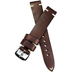 18mm 18/16mm Rio S1836Dark Brown Cowhide Military Style Bracelet Retro Look Quality Aviator Strap Top Quality Strong