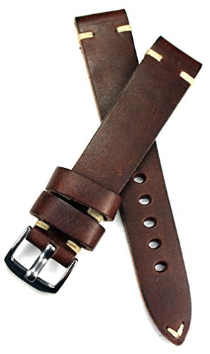 18mm 18/16mm RIOS1931 Dunkel braun kräftiges Rindsleder Military Style Armband Retro Look Quality Strap Flieger Band Top Qualität