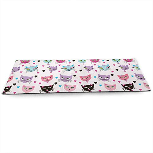 QIAOJIE Yoga Mats Carttoon Cat Print Crystal Velvet Yoga Mats Extra Long 71 Inch Luxury Eco Friendly Fitness Mat for All Types of Yoga, Pilates & Floor Exercises