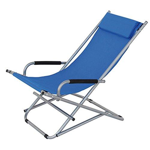 Chaise longue en aluminium avec accoudoirs et appuie-tête, toile en polyester, Playa, Bleu clair 80104 bleu ciel