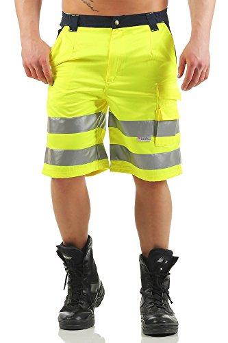 Arbeitshose Shorts mit Reflexstreifen in Signalfarben, Farbe:Gelb, Größe Hosen:XL ()