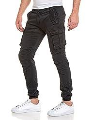 BLZ jeans - Pantalon cargo toile bleu navy à poches