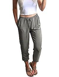 26f15c5fec1517 Xmiral Damen Hosen Polyester Hohe Taille Kordelzug Elastische Taille Lange  Hosen Feste Bleistift Hose
