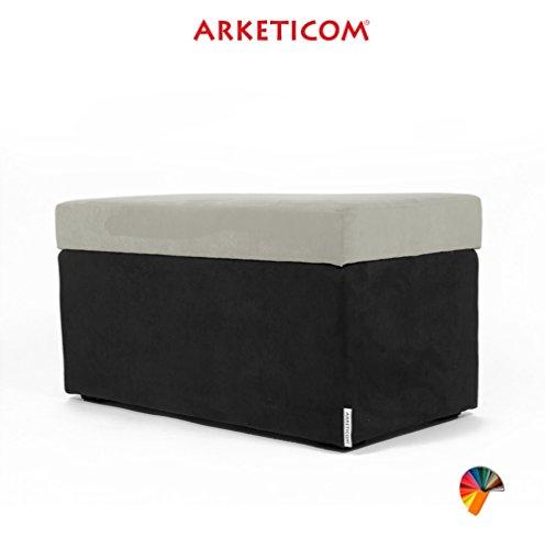 NEUF!!! Arketicom PANDORA Pouf de Rangement Cube CONTAINER Puff Repose-pieds Rembourré Banc Design Tissu Moderne MICROFIBRE Fabriqué à la Main en Italie, Structure bois Massif, Assis PU Coffre Box (Beige, 84 x 42 x 42h)