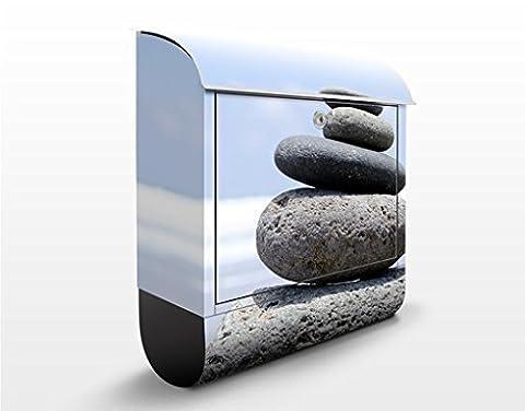 Design Briefkasten Sand Stones | Wand Mauer Steine Ziegel Felsen, Postkasten mit Zeitungsrolle, Wandbriefkasten, Mailbox, Letterbox, Briefkastenanlage, Dekorfolie