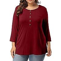 Damen T Shirt,Geili Mode Frauen 3/4 Ärmel Große Größe Tunika Tops Damen Casual O-Ausschnitt Knopf Solid Color... preisvergleich bei billige-tabletten.eu