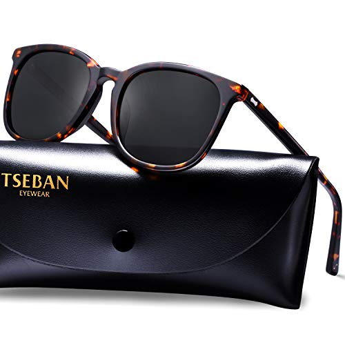 TSEBAN Vintage Damen Sonnenbrille Polarisierte Frauen Brille, Acetat-Rahmen & UV 400 Schutz (C - Rahmen: Schildpatt; Linse: Schwarz)