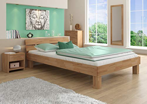 Erst-Holz® Futonbett Doppelbett mit Überlänge 140x220 Massivholzbett Buche Natur Ehebett 60.86-14-220