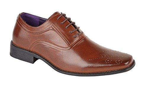 LD Outlet , Chaussures de ville à lacets pour garçon Marron - Brogue Lace Up - Dark Tan