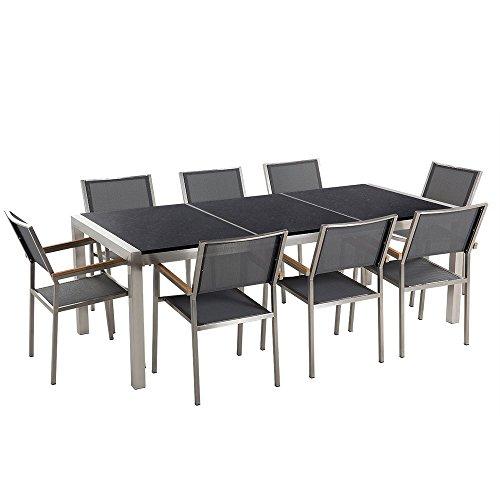 Beliani Gartenmöbel Set Naturstein schwarz Poliert 220 x 100 cm 8-Sitzer Stühle Textilbespannung grau GROSSETO