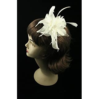 Flower & Feather Fascinator On Comb Cream Ref: 7789