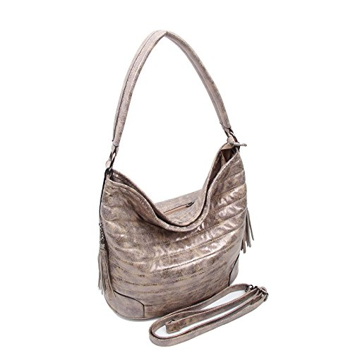 OBC ital-design Damen Shopper Tasche Blogger Beuteltasche Hobo-Bag Schultertasche it-bag Umhängetasche Silber Gold Schwarz Khaki