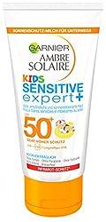 Garnier Ambre Solaire Kids Sensitive expert+ Milch mit LSF 50+, Sonnenmilch speziell für Kinder, zieht schnell ein, wasserfest, 50 ml