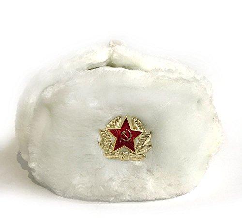 Russiche Künstler Mütze mit Ohrenklappen, weiß, UdSSR (60, Weiß)