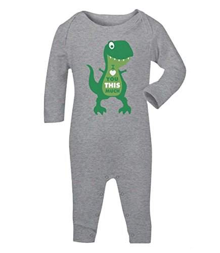 Green Turtle T-Shirts Valentinstag - I Love You This Much Dino Baby Strampler Strampelanzug 3-6 Monate (60/66) Grau