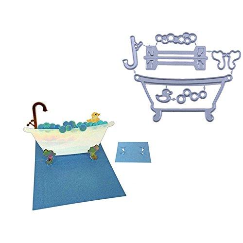 Huhuswwbin Stanzform Pop-Up-Badewanne Stanzschablonen DIY Scrapbooking Prägung Papier Karte Handwerk Silber