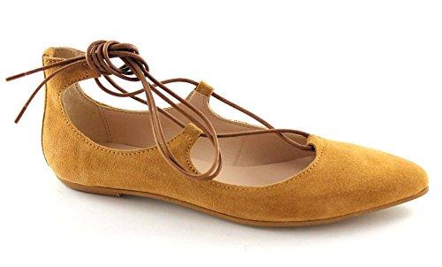 DIVINE FOLLIE 5782 cuoio scarpa donna ballerina schiava laccio 38
