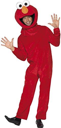 Kopfbedeckung Kostüm Elmo - Sesamstraße Elmo Kostüm Rot mit Jumpsuit und Kopfbedeckung, Medium