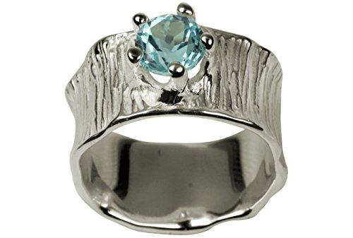 SILBERMOOS Damen Bandring mit blauem Topas Lotusblatt-Struktur 925 Sterling Silber, Größe:58 (18.5)
