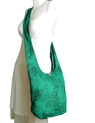 "BenThai Products, Borsa a tracolla donna White SP10 Height:  10"" Green SP9"