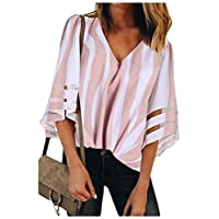 Freedom Womens Mesh V neck Trumpet Sleeves Stitching Blouses Shirt Tops Pink XL