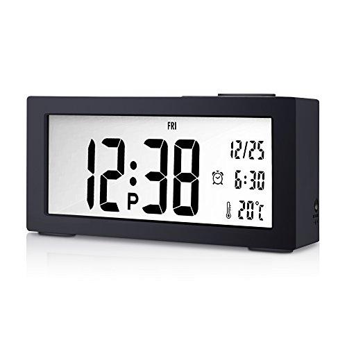 Goldfox® Premium Klavierlack LCD Digital Wecker Uhr mit Datum Temperatur Kalender Snooze Nachtlicht Anzeige