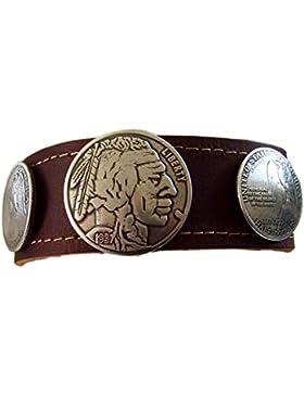 Leder Armband Indianer Half Dollar 3,6 cm breit Armschmuck Farbe braun