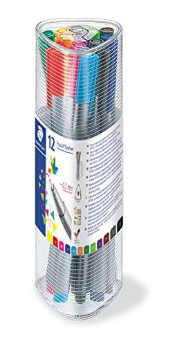 Staedtler triplus 334 PR12 Fineliner, dreikant, 0, 3 mm, 12 Stück in transparenter Dose