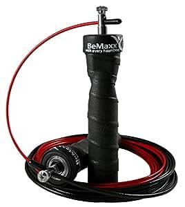 Springseil Speed Rope von BeMaxx Fitness + Trainingsguide & Ersatzkabel | 2 verstellbare Stahlseile, Profi Kugellager & Anti-Rutsch Griffe | Crossfit, Profi Sport, Boxen, Training | Erwachsene, Kinder