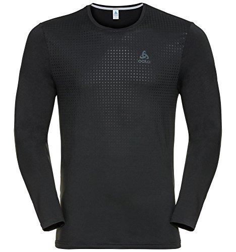 Odlo Herren Long Sleeve Sillian T-Shirt, Herren, Long Sleeve Sillian black with print FW17