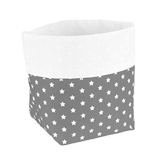 Sugarapple Utensilo Stoff Aufbewahrungsbox aus Baumwolle 19 x 13,5 x 13,5 cm, Stoffbox fürs Bad, als Wickeltisch Organizer oder Windelspender Korb, grau Sterne weiß