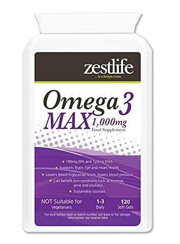 Force Omega 3 MAX huile de haute Fish   Natural Source d'oméga-3 acides gras essentiels (EPA et DHA)   1000 mg x 120 Capsules