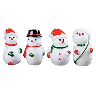Bomcomi 4PCS Micro Paisaje Blanco del muñeco de Nieve Resina Artesanía de Navidad muñeco de Nieve decoración de la decoración de pequeños Adornos en Miniatura