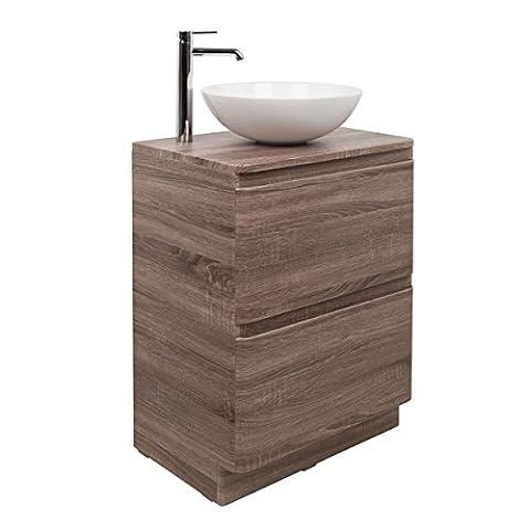 Design Badezimmer 600mm Waschtisch Unterschrank Eiche Aufsatz Waschbecken Rund