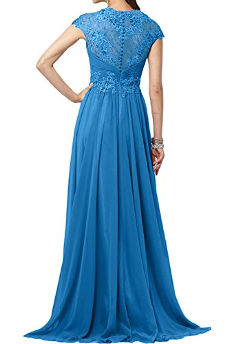 Sunvary Glamour Neu Chiffon V-Neck Abendkleider Lang Mutterkleider Spitze Arm Blau
